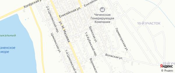 Кубанский переулок на карте Грозного с номерами домов