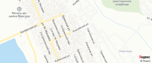 Сайханова 2-й переулок на карте Грозного с номерами домов