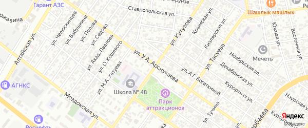 Февральская улица на карте Грозного с номерами домов