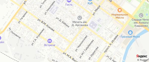 Улица Дадин-Айбики на карте Грозного с номерами домов