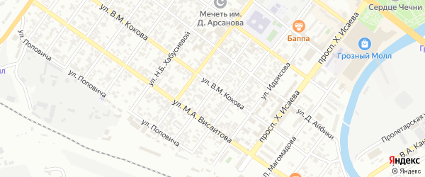 Улица Чернокозова на карте Грозного с номерами домов