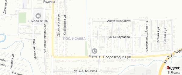 Августовский 1-й переулок на карте Грозного с номерами домов