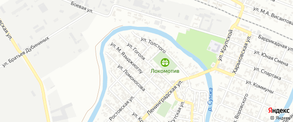 Переулок им Гоголя на карте Грозного с номерами домов
