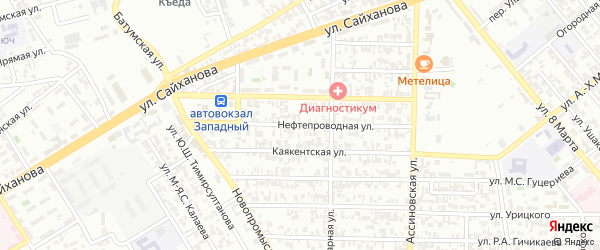 Нефтепроводная улица на карте Грозного с номерами домов