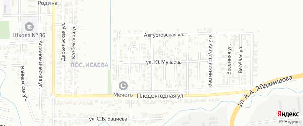 Августовский 2-й переулок на карте Грозного с номерами домов