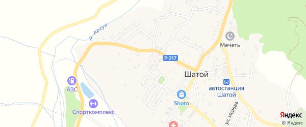 Улица Медгородок на карте села Шатоя с номерами домов