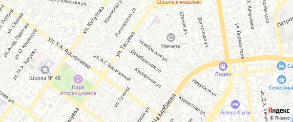 Декабрьская улица на карте Грозного с номерами домов
