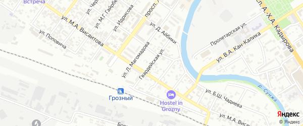 Гвардейская улица на карте Грозного с номерами домов