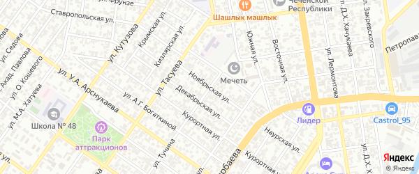 Ноябрьская улица на карте Грозного с номерами домов