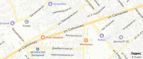 Улица Сайханова на карте Грозного с номерами домов