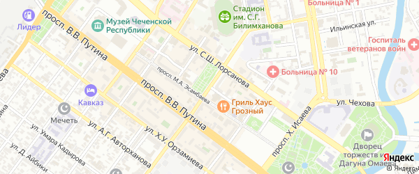 Улица Космонавтов на карте Грозного с номерами домов