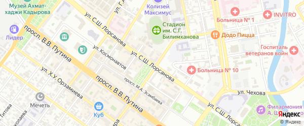 Улица им С.Ш.Лорсанова на карте Грозного с номерами домов