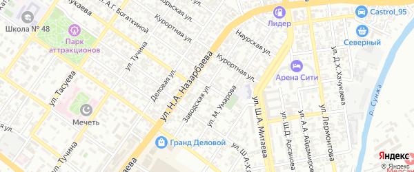 Заводская улица на карте Грозного с номерами домов