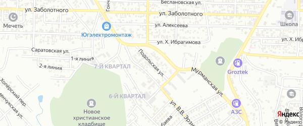 Подольская улица на карте Грозного с номерами домов