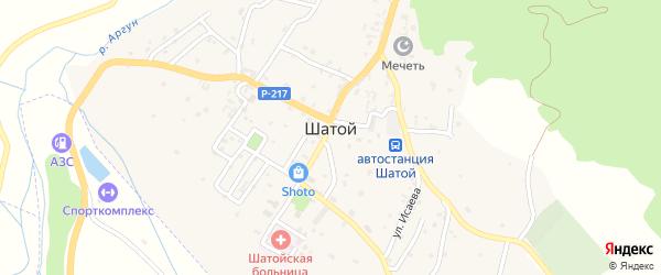 Набережная улица на карте села Шатоя с номерами домов