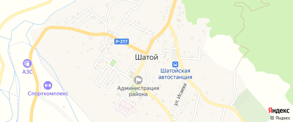 Улица У.Альсултанова на карте села Шатоя с номерами домов