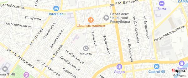Южная улица на карте Грозного с номерами домов