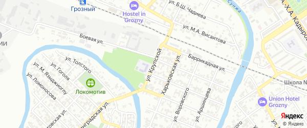 Улица им Крупской на карте Грозного с номерами домов