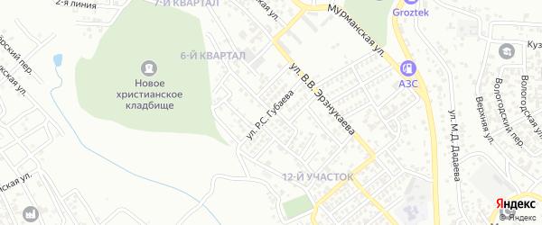 Улица Р.С.Губаева на карте Грозного с номерами домов