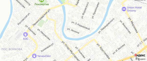 Улица им Зюзина на карте Грозного с номерами домов