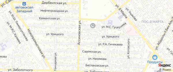 Улица Урицкого на карте Грозного с номерами домов
