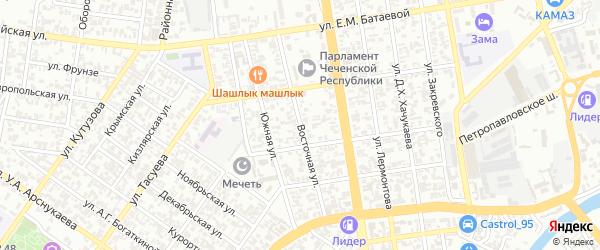 Восточная объездная улица на карте Грозного с номерами домов