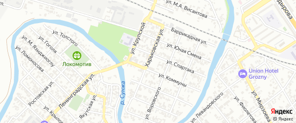 Харьковская улица на карте Грозного с номерами домов