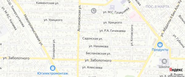 Садонская улица на карте Грозного с номерами домов