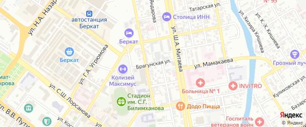 Брагунская улица на карте Грозного с номерами домов