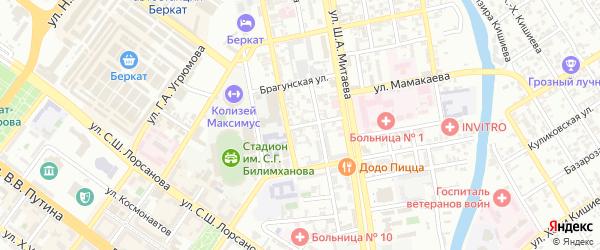 Улица Демина на карте Грозного с номерами домов