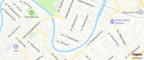 Паровозная улица на карте Грозного с номерами домов