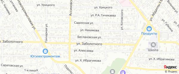 Беслановская улица на карте Грозного с номерами домов