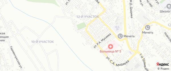 Переулок С.А.Мидаева на карте Грозного с номерами домов