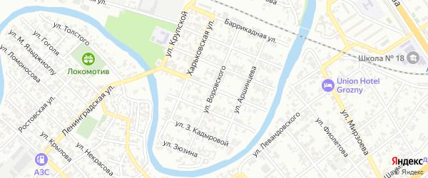 Улица Коммуны на карте Грозного с номерами домов