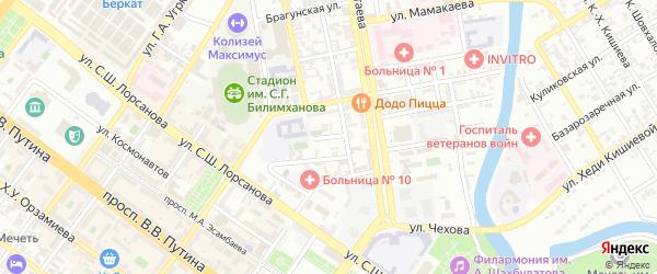 Октябрьская улица на карте Грозного с номерами домов