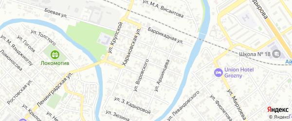 Улица Спартака на карте Грозного с номерами домов