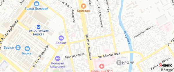 Улица Первомайская роща на карте Грозного с номерами домов