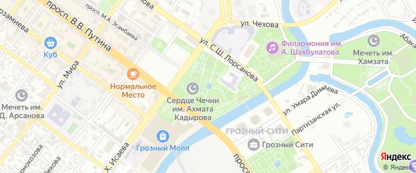 Белокаменный переулок на карте Грозного с номерами домов