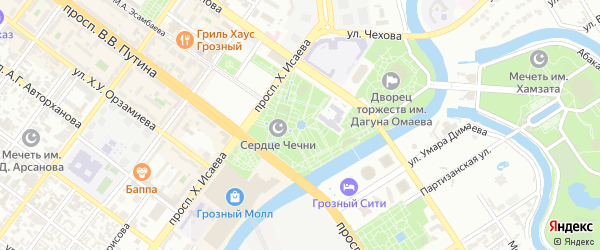Стадионный переулок на карте Грозного с номерами домов