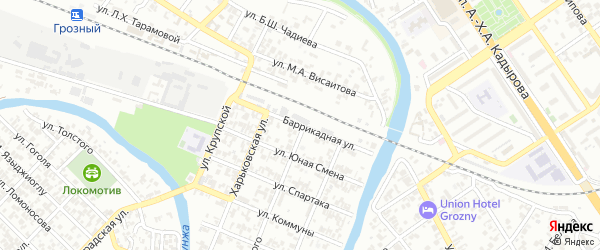 Баррикадная улица на карте Грозного с номерами домов