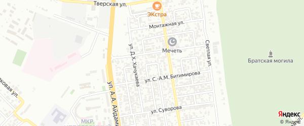 Луговой переулок на карте Грозного с номерами домов