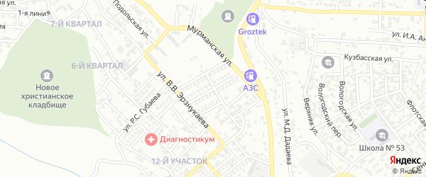 Улица А.А.Баширова на карте Грозного с номерами домов