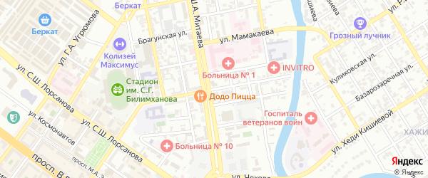 Кабардинская улица на карте Грозного с номерами домов