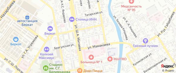 Карагандинская улица на карте Грозного с номерами домов