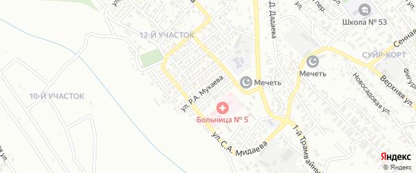 Улица Р.А.Мукаева на карте Грозного с номерами домов