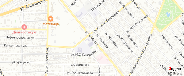 Улица 8 Марта на карте Грозного с номерами домов