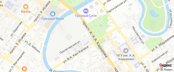 Улица имени Митаева Умара Бамагири-Хаджиевича на карте Грозного с номерами домов