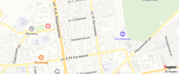 Окраинная улица на карте Грозного с номерами домов