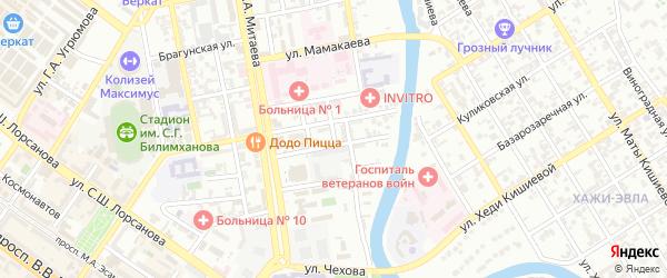 Больничный переулок на карте Грозного с номерами домов