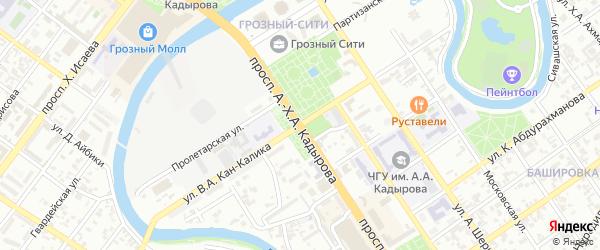 Улица имени Виктора Абрамовича Кан-Калика на карте Грозного с номерами домов